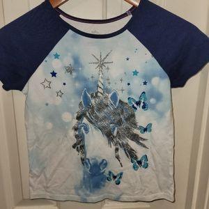 365 Kids Blue & Glitter Girls 8 Unicorn tee